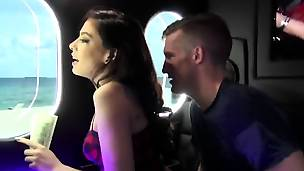 Amy Parks amazing threesome in bang bus
