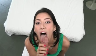 Leggy slim Latina sweetheart Kimberly Gates with long dark hair gives great blow job to their way fuck buddy before she strips naked and bows forgo to take his honour torpedo in their way tight cum-hole from behind.